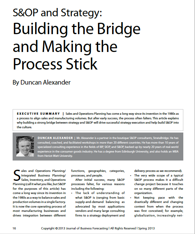 S&OP and Strategy - Building the Bridge